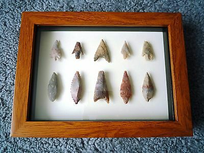 Neolithic Arrowheads in 3D Picture Frame, Authentic Artifacts 4000BC (1064)