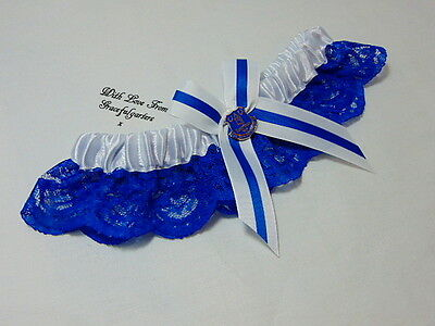 Football team Lace Bridal Wedding Garter. Blue and White.(other team available)