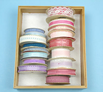 17 SPOOLS LACE  RIBBON Pink BLUE Lavender CRAFTS Sewing