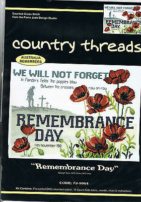 """"""" REMEMBRANCE DAY """"  Cross Stitch Kit,  Country  Threads"""