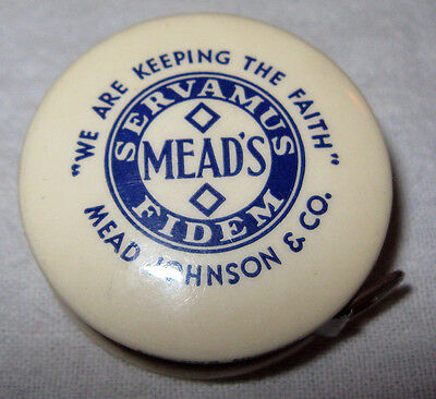 Advertising Celluloid Tape Measure 1930's Mead's Pablum Baby Food Locking Sewing