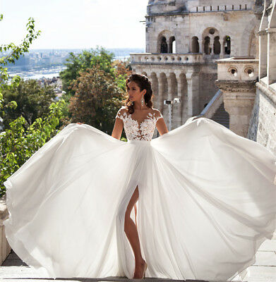 Boho Bridal Spring Beach Wedding Dress with Side Slit Custom Size 2 4 6 8 10 12