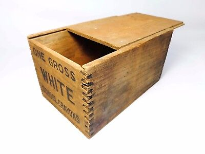 Antique Early 20Th C School Crayon Wood Box W/sliding Lid Finger Jointed Corners