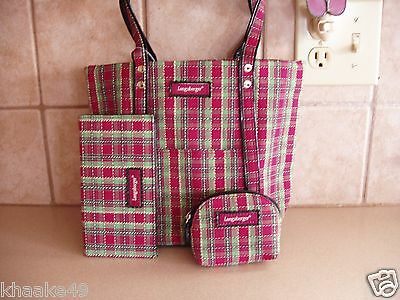 Longaberger Holiday Plaid Purse, Checkbook Cover & Coin Purse Nip Free Shipping