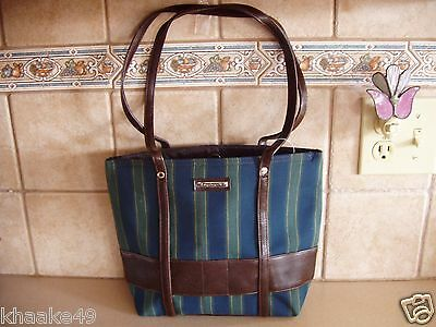 Longaberger Collector's Club Blue Green Stripe Tote Purse * Nip * Free Shipping