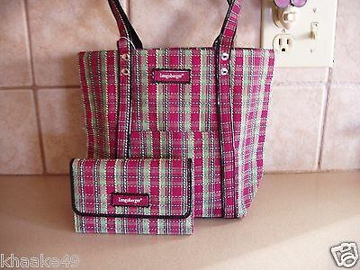 Longaberger Holiday Plaid Tote Purse And Wallet Set * Nip * Free Shipping