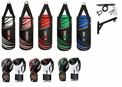 Maxx Kids Punch Bag Boxing Gloves Set Gel Shock Junior Bracket Hook 6oz Or 8oz