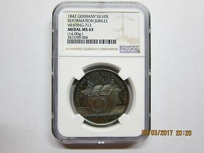 1842 Germany silver reformation jubilee medal NGC MS63