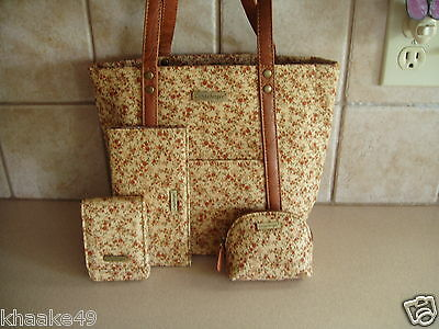 Longaberger Fall Vintage Floral Tote, Card Case, Checkbook & Coin Purse Set Nip