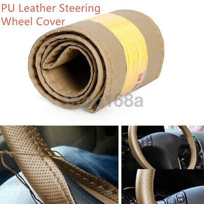 Car Truck Auto Steering Wheel Cover Beige DIY PU Leather With Needles and Thread