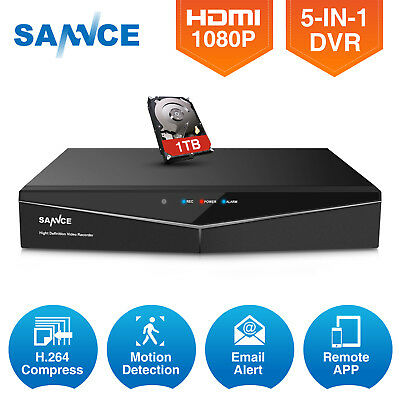 SANNCE 1TB 16CH HD 5IN1 1080P HDMI DVR Surveillance H.264 for Home Camera System