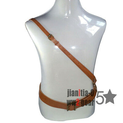 Army Pla Leather Armed Pistol Belt And Cross Shoulder Strap