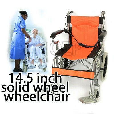 Solid wheel Folding Wheelchair 16 inch Manual Mobility Aid Light Weight