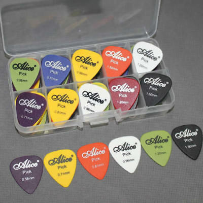 24/100 Pcs Electric Acoustic Guitar Picks Plectrums Assorted 6 Thickness W/ Case