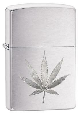 Zippo Windproof Laser Engraved Marijuana Leaf Lighter, 29587, New In Box