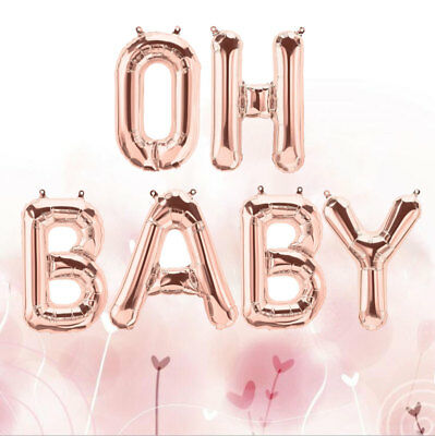 """OH BABY Rose Gold Foil Balloon Baby Shower Banner Birthday Party Decor 16"""" Gift"""
