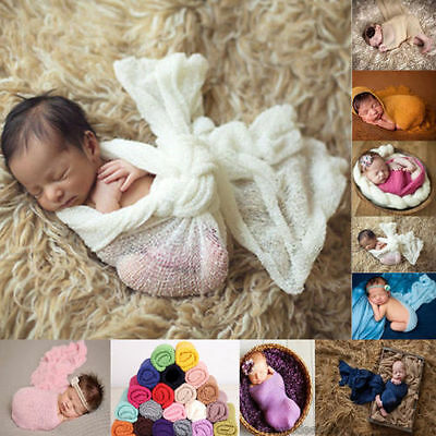 Baby Newborn Photography Photo Prop Stretch Wrap Long Ripple Wrap 10Colors USA