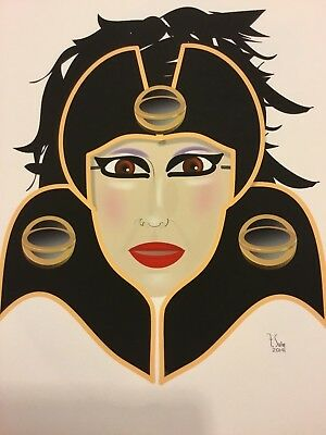 Giclee Fine Art Digital Print Artist signed  Cleopatra Pretty Lady Deco Style