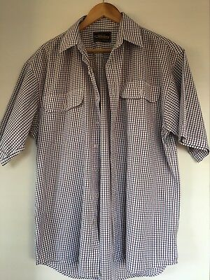 NEW Mens Bisley L Shirt Short Sleeve Casual Wear Size Large Blue Red Check m03
