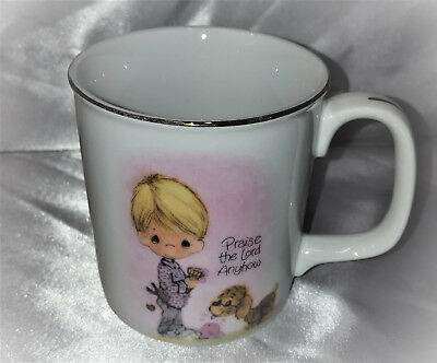 Vintage Precious Moments Praise the Lord Anyhow Coffee Cup Mug 1984 Enesco Japan