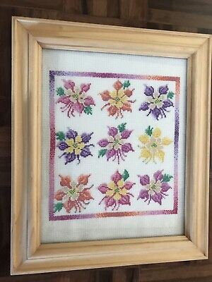 Finished framed pink purple yellow green cross stitch flower floral embroidery