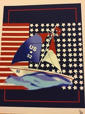 Giclee Fine Art Artist signed Deco Style USA Sailboat Digital Print