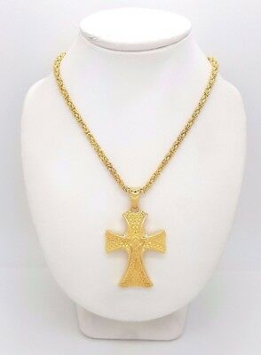 14ct (585, 14K) Yellow Gold Byzantine Chain Necklace with Large Cross Pendant