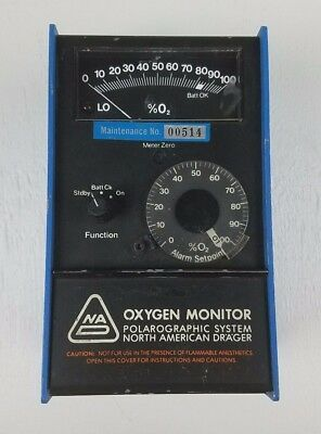 North American Drager NAD 04026-03 Polarographic System Oxygen O2 Monitor