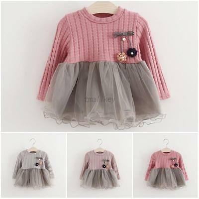 Toddler Baby Girls Dress Long Sleeve Party Pageant Princess Dresses Kids Clothes