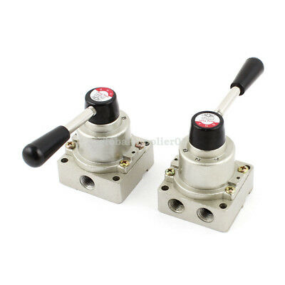 2Pcs 1/4 BSP Center Closed 3 Positions 3 Ports Manual Hand lever Pneumatic Valve