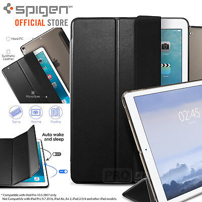 iPad Pro 10.5 Case, Genuine SPIGEN Slim Leather Magnetic Smart Case Cover Stand