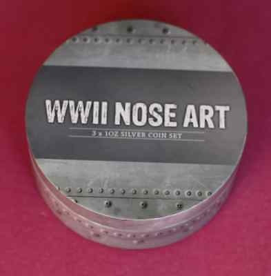 2012 3 x 1oz .999 Silver WWII Nose Art Proof Coins