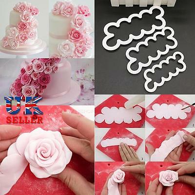 3D Fondant Sugar Craft Roses Rose Petal Cutter Wedding Birthday Cake Decoration