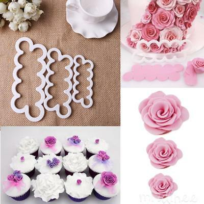 3 X 3D Rose Petal Cake Cutter Fondant Icing Tool Sugarcraft DIY Decorating Mould
