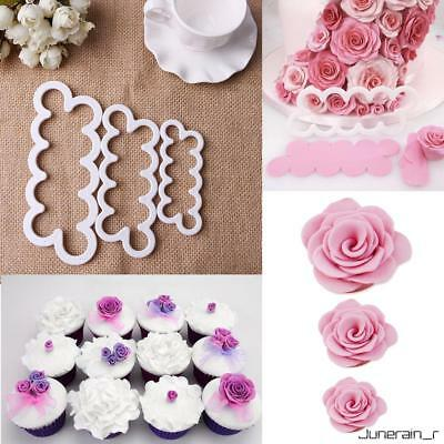 3pcs Cake Rose Petal Flower Cutter Fondant Sugarcraft Icing Tools Decorate Mould