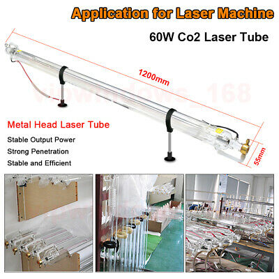 60W CO2 Laser Tube Glass Head Dia55mm L1200mm for Co2 Laser Engraver Machine