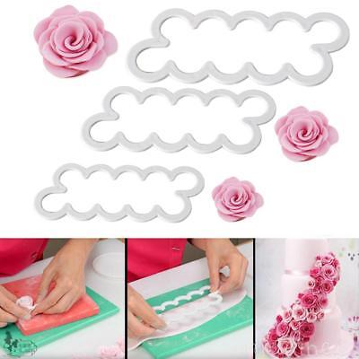 AU 3Pcs Rose Petal Flower Cutter Fondant Icing Tool Sugarcraft Decorating Mould