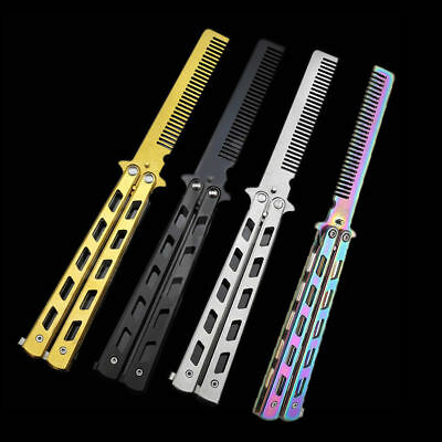 Stainless Steel Stunning Practice Butterfly Balisong Comb Trainer Training Tool