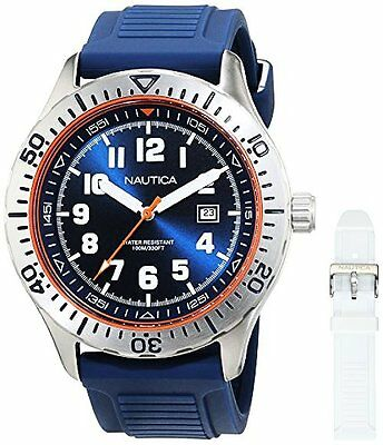 Nautica NAD14005G Mens NSR 105 BOX SET Quartz Stainless Steel and Silicone