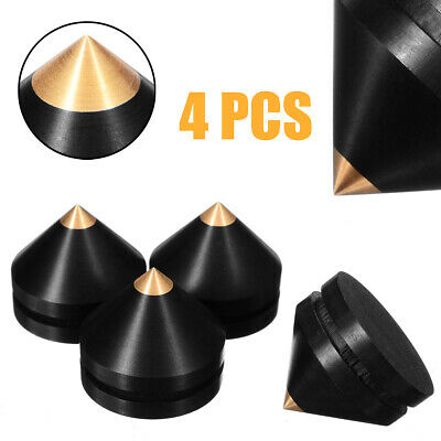 4x 23MM Ebony Audio Speaker Isolation Spike Wooden Copper Stand Feet w/ Base Pad