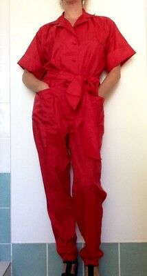 Vintage Red Jumpsuit Size Small/medium Polyester