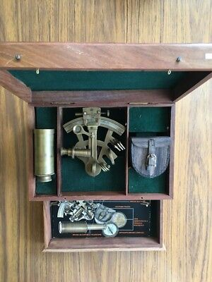 Old Horn Blower Wooden Box With Sexton / Monocular/compass Nautical Set RARE