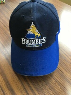 (used) Brumbies ACT Rugby Strap Back Hat Blue Black EUC