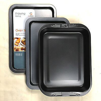 Get Goods Enjoying Baking Set Of 3 Oven Trays Non Stick Roasting Cooking Sheets