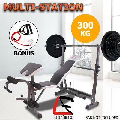 Lazar Fitness Multi-Station Weight Bench Press Leg Curl Gym Weights Equipment