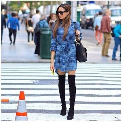 Women Ladies Suede Tie Back Thigh High Boots Over The Knee Party Stretch Block