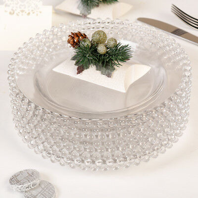 Set of 100 Bella Perle Beaded Edge Glass Dinner Plates for Weddings Hotels