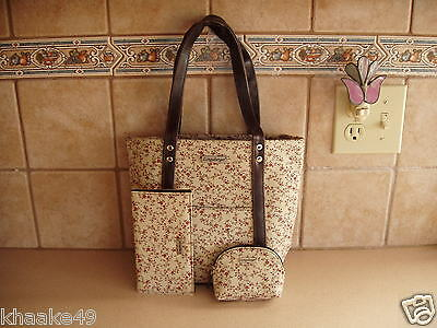 Longaberger Vintage Floral Tote, Checkbook Cover  & Coin Purse Set Nip Free Ship