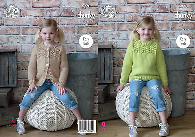 King Cole Chunky Knitting Pattern Easy Knit Girls Lacy Cardigan & Sweater 4970