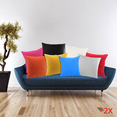 2p Plain Dyed Cushion Covers 100% Percale Cotton Sofa Pillow Case Home Decor 18""
